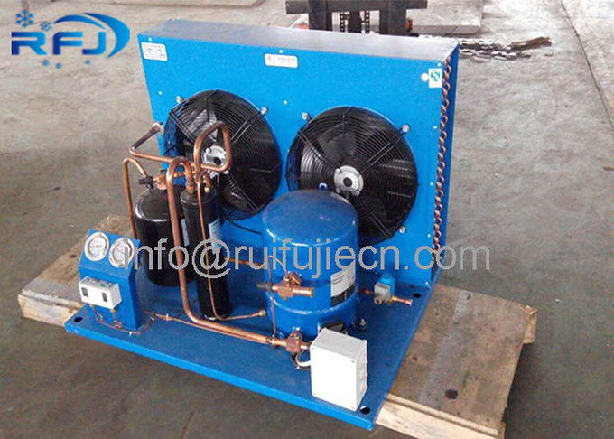 Blue Color Water Cooled Condenser , Maneurop  Hermetic Compressor Condenser Unit  MT80/WN10H-MT160/WN15H